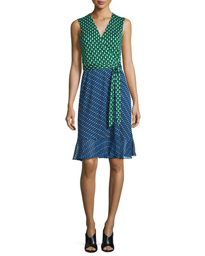 Bethanie Diagonal Dots Flounce Wrap Dress, Green