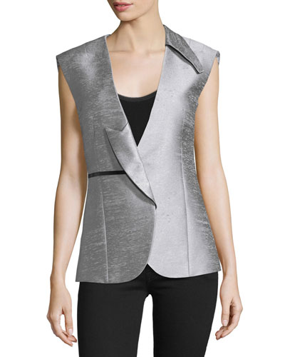 Asymmetric-Lapel Fitted Vest, Silver