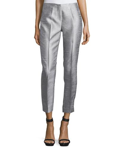 Slim-Leg Cropped Trousers, Silver