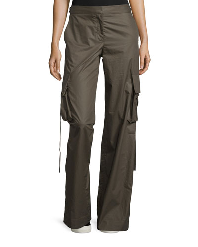 Cotton Mid-Rise Cargo Pants, Brown