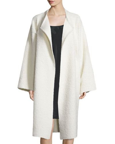 Long Shaggy Alpaca-Blend Coat, Cream