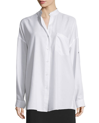 Long-Sleeve Open-Back Poplin Blouse, White