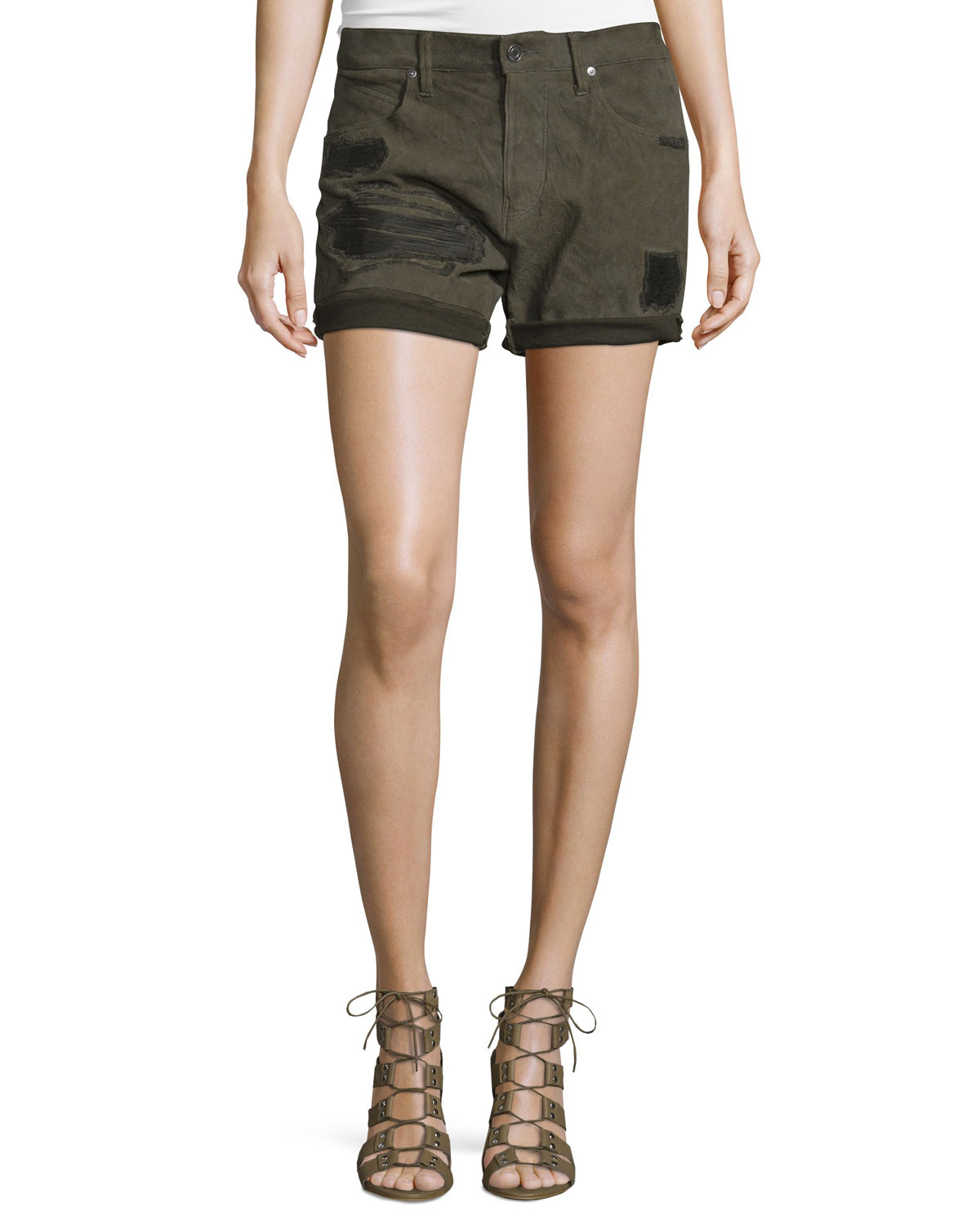 Olivia Distressed Rolled-Cuff Shorts, Jungle Revenge