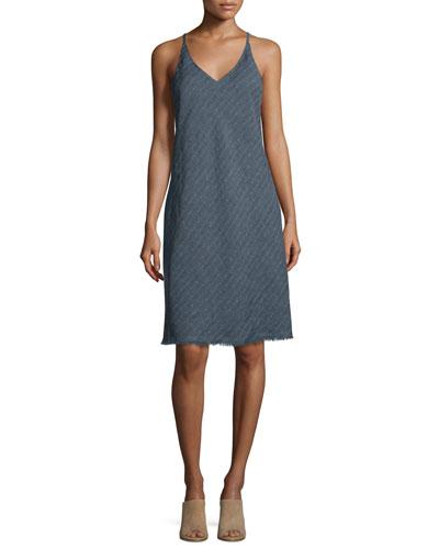 Sleeveless Racerback Linen-Blend Shift Dress, Indigo Stripe