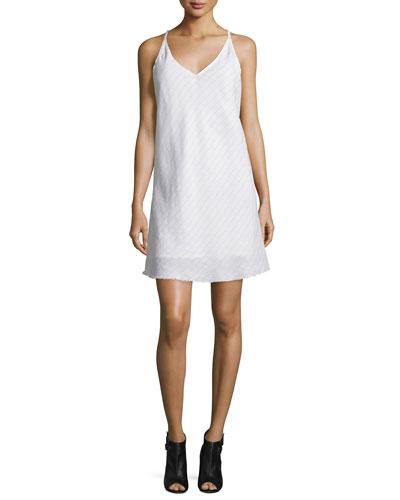 Mitered-Stripe V-Neck Shift Dress, White