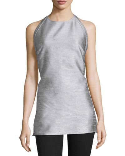 Halter-Neck Backless Top, Silver