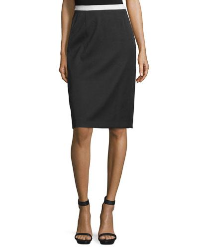 Contrast-Waist Pencil Skirt, Black
