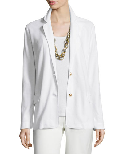 Two-Button Pique Blazer, White, Petite