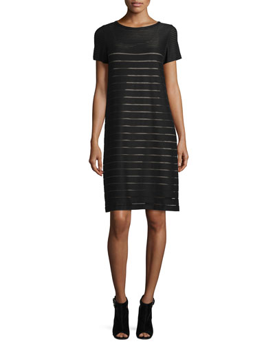 Mixed-Stripe Short-Sleeve Shift Dress, Black