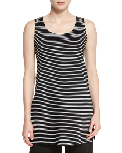 Sleeveless Scoop-Neck Striped Tunic, Black Multi