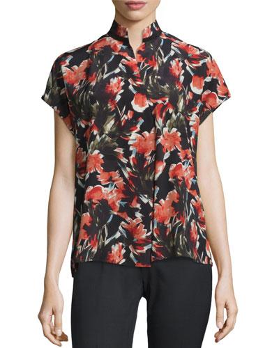Eloise Short Dolman-Sleeve Floral-Print Silk Blouse, Black Multi
