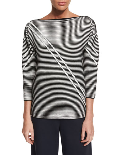 Pintucked 3/4-Sleeve Striped Sweater, Black Multi