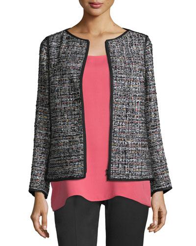 Keaton Tweed Zip-Front Jacket, Black Multi