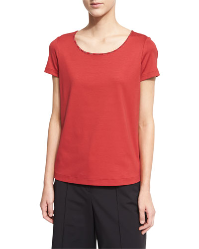 Chain-Trim Scoop-Neck Tee, Red Rock