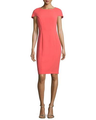 Short-Sleeve Cape-Back Sheath Dress