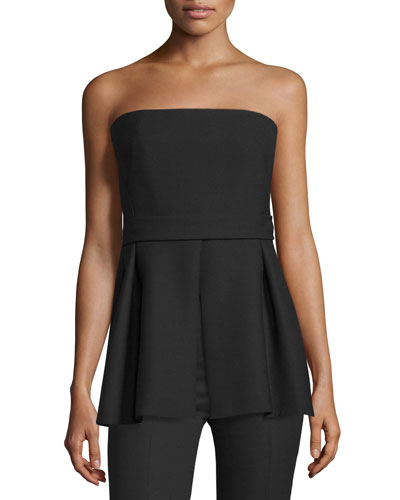 Strapless Pleated-Peplum Top, Black