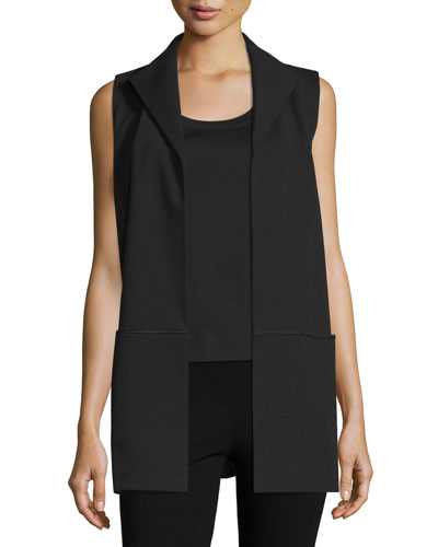 Marrow-Stitch Long Open Vest, Black