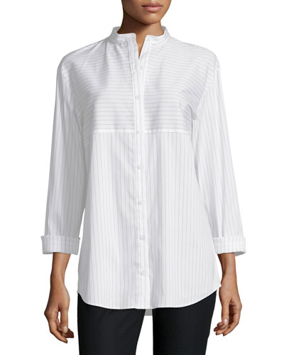 Nicoletta Button-Front Striped Blouse, Cloud/Multi