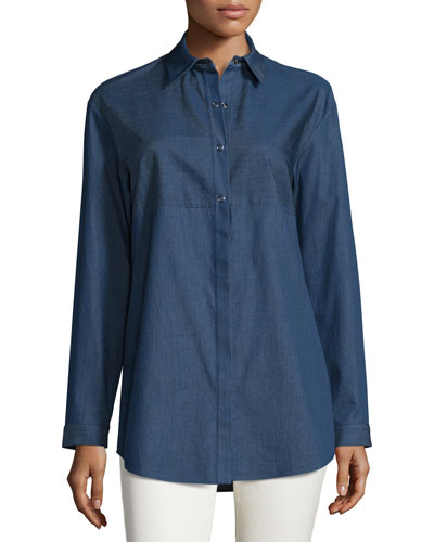 Nicoletta Denim Long-Sleeve Blouse, Indigo