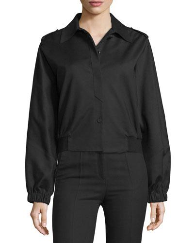 Button-Front Short Sports Jacket, Black