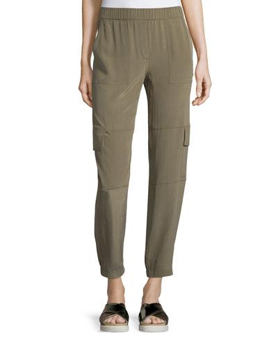 Hamtana Summer Silk Cargo Pants, Moss