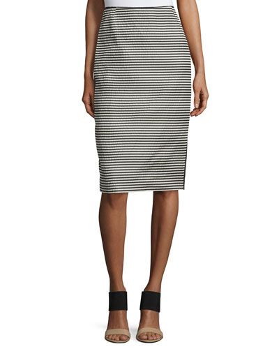 Striped Pencil Skirt W/Slit, Black Multi