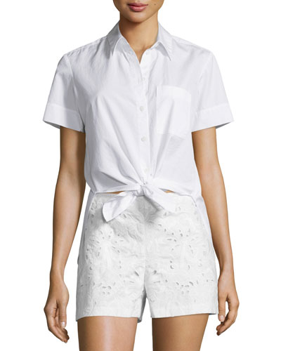 Hekanina Pearce Tie-Front Short-Sleeve Top