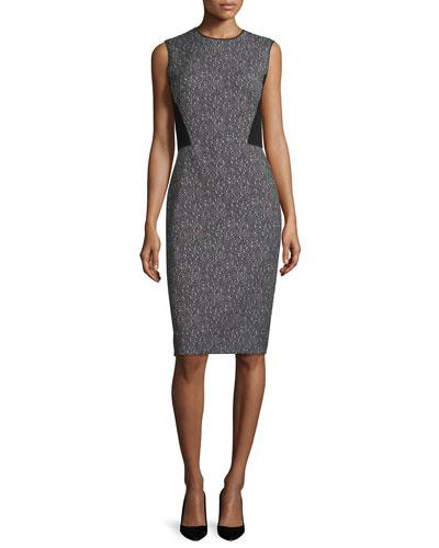 Marilyn Speckled Sleeveless Dress, Black/Multi