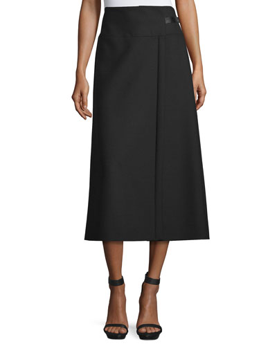 A-Line Midi Skirt, Black