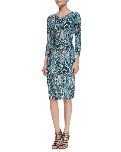 3/4-Sleeve Snake-Print Sheath Dress