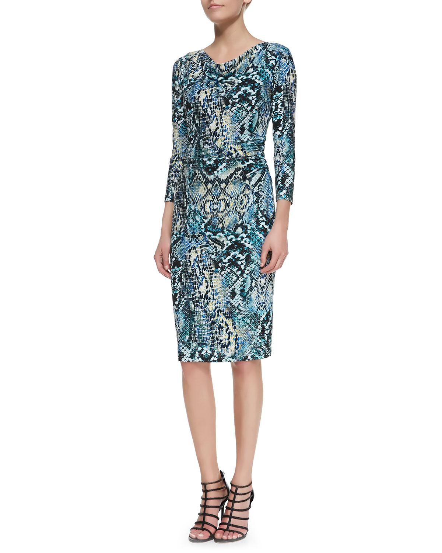 3/4-Sleeve Snake-Print Sheath Dress