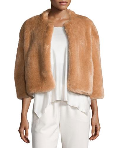 Sawyer Cropped Faux-Fur Coat, Buff