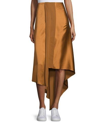 Sydney Silk Satin Midi Skirt, Coppertone