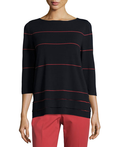 3/4-Sleeve Striped Layered-Hem Sweater, Ink/Red Rock