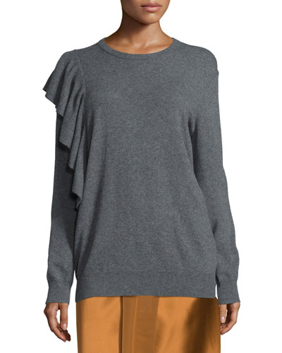Orly Ruffle-Trim Pullover Sweater, Charcoal