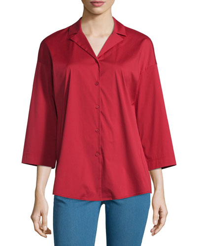 Analeigh Bracelet-Sleeve Blouse, Red Rock