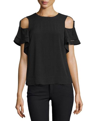 Cold-Shoulder Short-Sleeve Top, Black