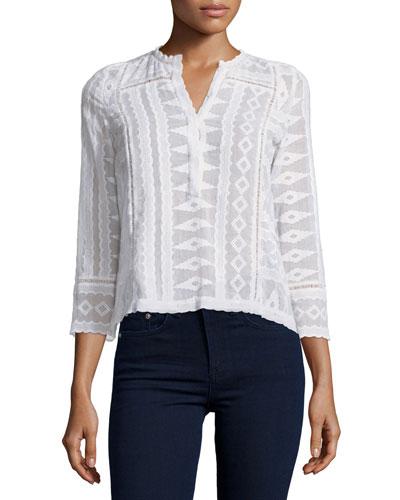 3/4-Sleeve Embroidered Gauze-Knit Top, Sea Salt