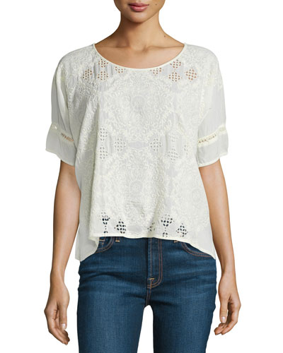 Embroidered Eyelet Georgette Boxy Blouse, Plus Size