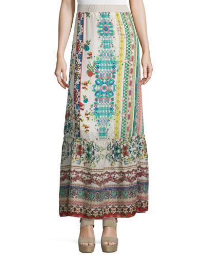 Nova Printed Silk Tiered Maxi Skirt, Plus Size