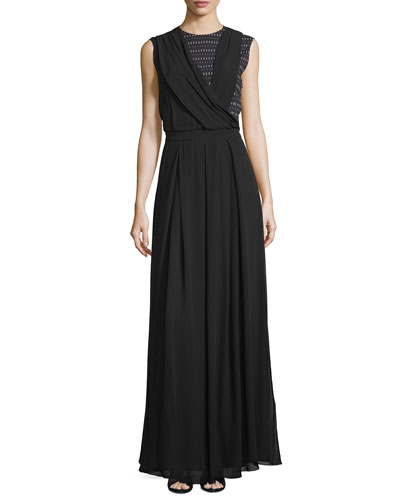 Sleeveless Draped-Bodice Maxi Dress, Black