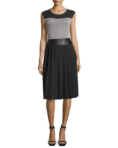 Sleeveless Round-Neck Colorblock Dress, Black