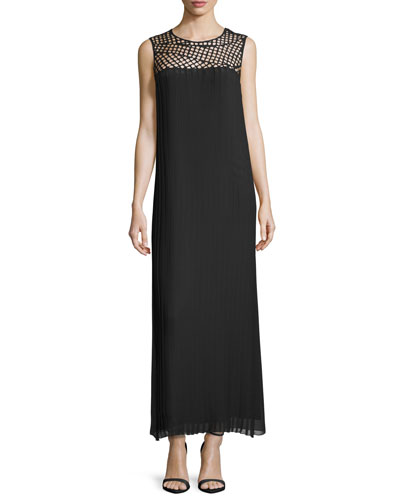 Macrame-Yoke Column Maxi Dress, Black