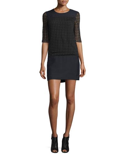 Half-Sleeve Lace-Overlay Mini Dress, Black