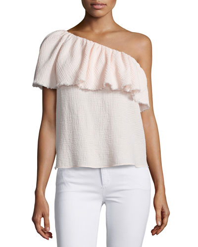 One-Shoulder Ruffle Top, Light Quartz