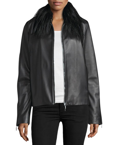 Fur-Collar Zip-Front Leather Jacket, Black