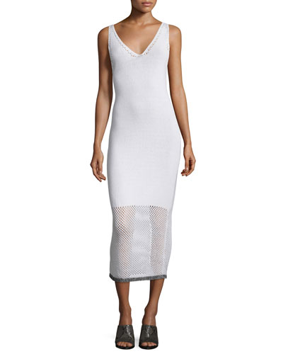 Thea Netted V-neck Midi Dress, White