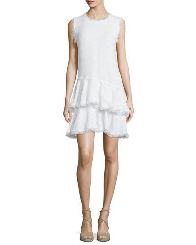 Sleeveless Fringe-Trim Tiered Dress, Sea Salt