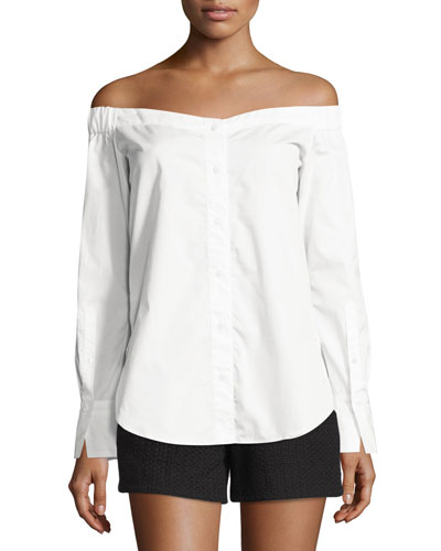 Kacy Reversible Poplin Off-the-Shoulder Tunic, White