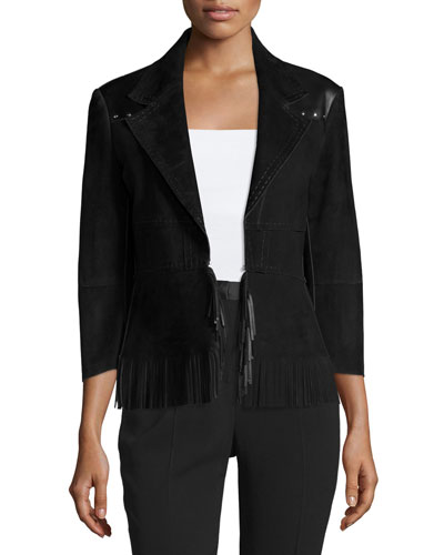 3/4-Sleeve Suede Jacket W/Fringe Hem, Black